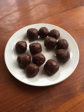 orange cacao and peanut cacao bliss balls